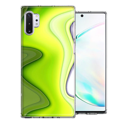 Samsung Galaxy Note 10 Green White Abstract Design Double Layer Phone Case Cover