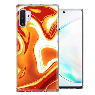 Samsung Galaxy Note 10 Orange White Abstract Design Double Layer Phone Case Cover