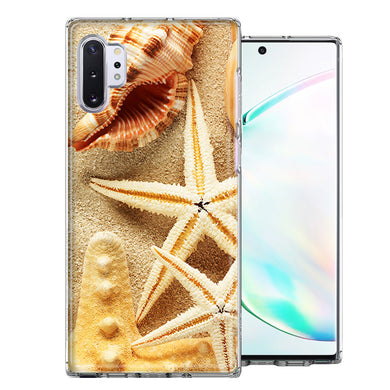 Samsung Galaxy Note 10 Sand Shells Starfish Design Double Layer Phone Case Cover