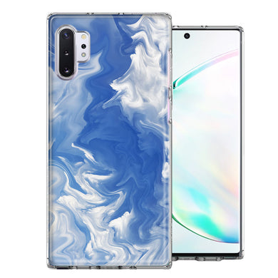 Samsung Galaxy Note 10 Sky Blue Swirl Design Double Layer Phone Case Cover
