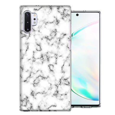Samsung Galaxy Note 10 White Grey Marble Design Double Layer Phone Case Cover