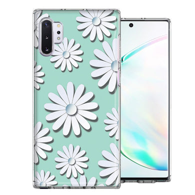 Samsung Galaxy Note 10 White Teal Daisies Design Double Layer Phone Case Cover