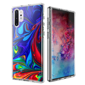 For Samsung Galaxy Note 10 Blue Red Oil Paint Design Double Layer Phone Case Cover