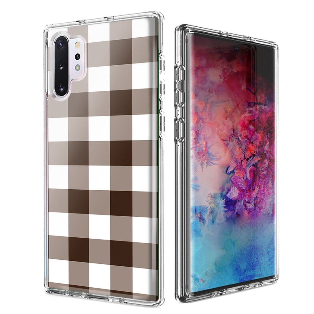 For Samsung Galaxy Note 10 Brown Plaid Design Double Layer Phone Case Cover