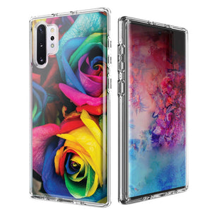 For Samsung Galaxy Note 10 Colorful Roses Design Double Layer Phone Case Cover