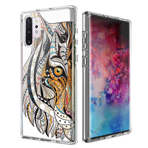 For Samsung Galaxy Note 10 Plus + Mosaic Tiger Face Design Double Layer Phone Case Cover