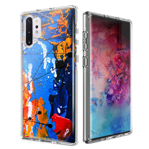 For Samsung Galaxy Note 10 Plus + Oil Paint Splatter Design Double Layer Phone Case Cover