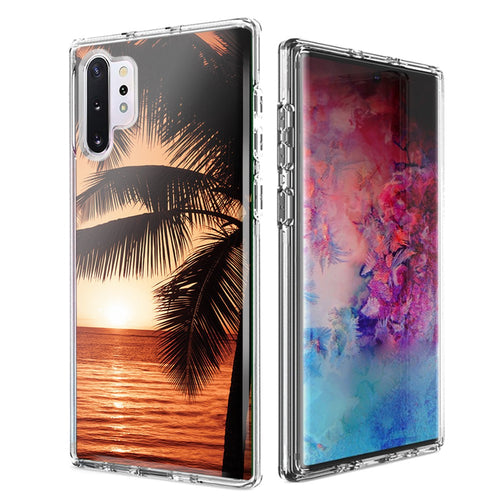 For Samsung Galaxy Note 10 Plus + Paradise Sunset Design Double Layer Phone Case Cover