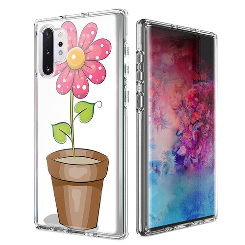 For Samsung Galaxy Note 10 Pink Daisy Design Double Layer Phone Case Cover