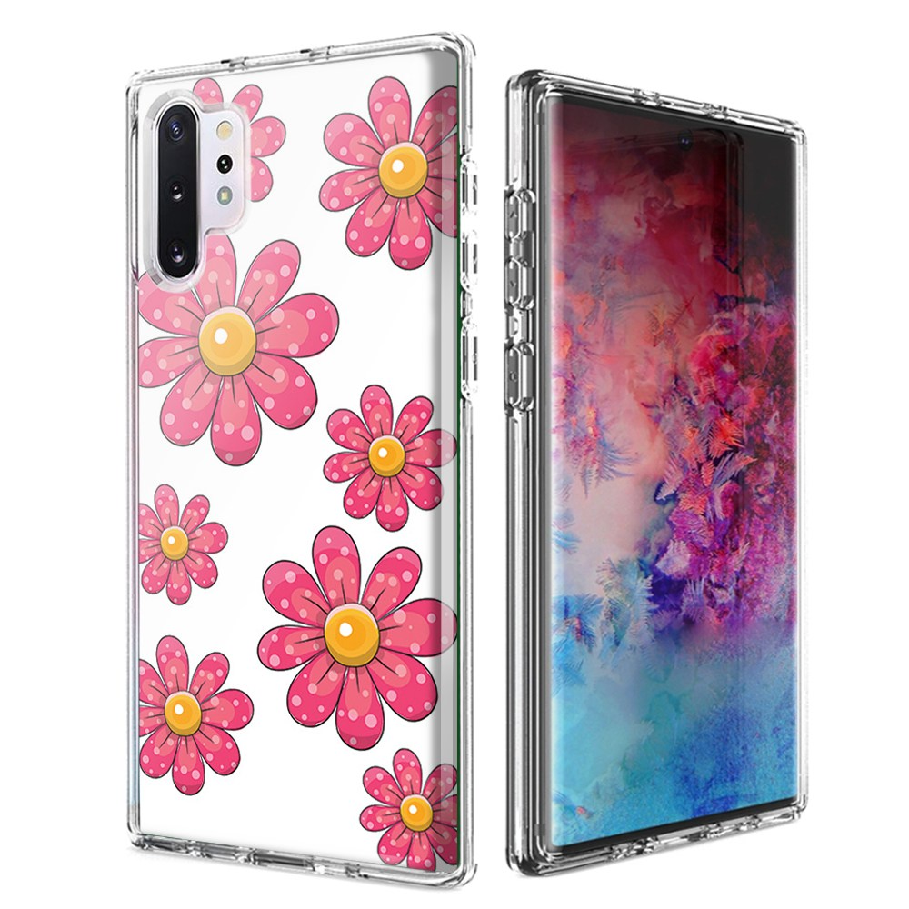 For Samsung Galaxy Note 10 Pink Daisy Flower Design Double Layer Phone Case Cover