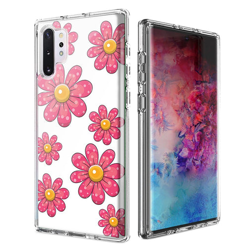 For Samsung Galaxy Note 10 Plus + Pink Daisy Flower Design Double Layer Phone Case Cover
