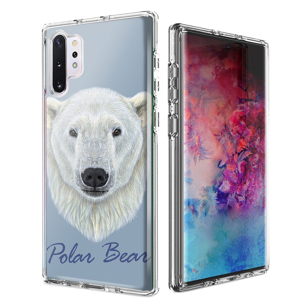 For Samsung Galaxy Note 10 Plus + Polar Bear Design Double Layer Phone Case Cover