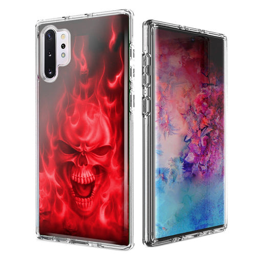 For Samsung Galaxy Note 10 Plus + Red Flaming Skull Design Double Layer Phone Case Cover