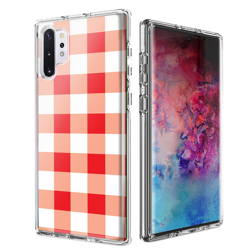 For Samsung Galaxy Note 10 Plus + Red Plaid Design Double Layer Phone Case Cover