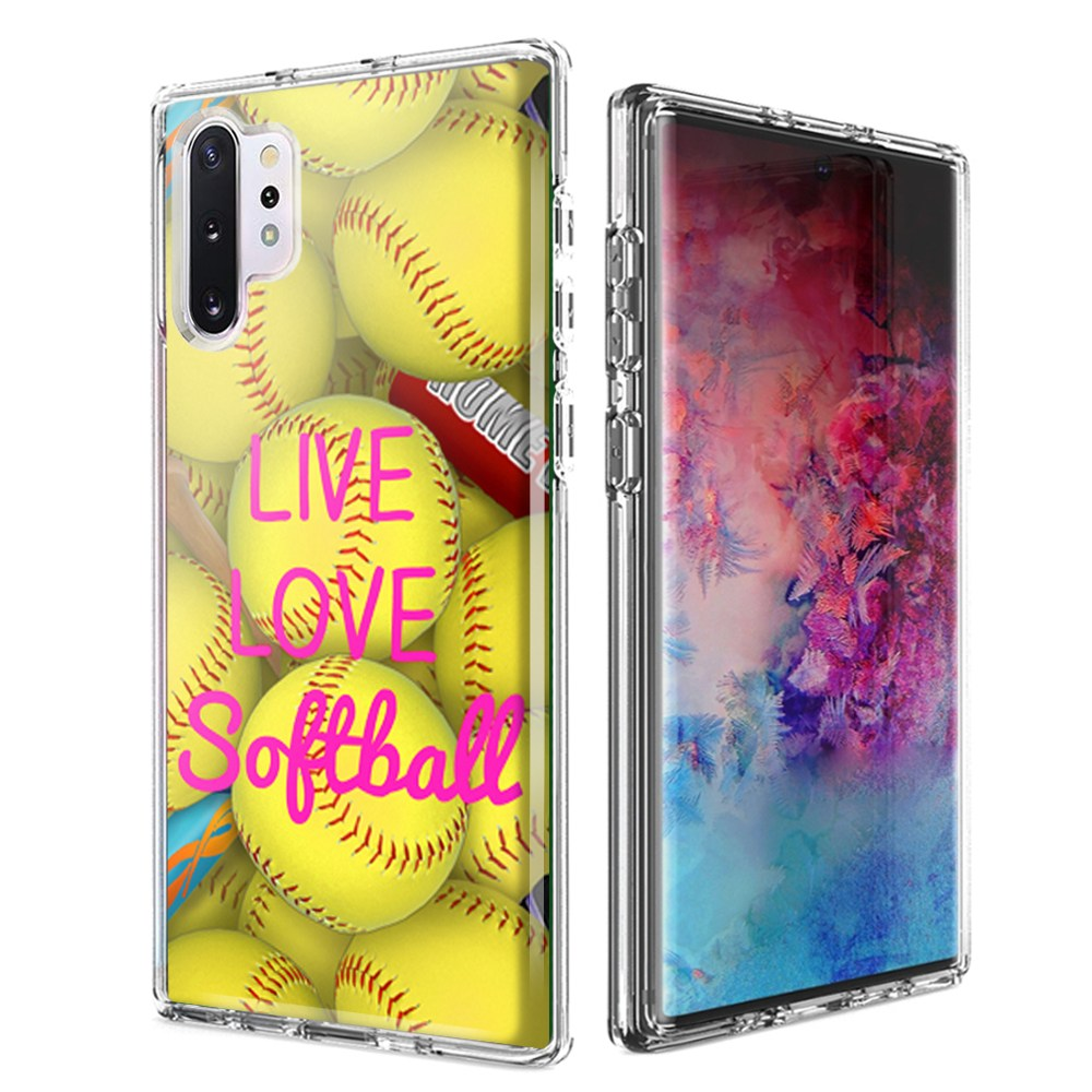 For Samsung Galaxy Note 10 Plus + Love Softball Design Double Layer Phone Case Cover