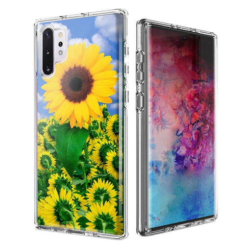 For Samsung Galaxy Note 10 Plus + Sunflowers Design Double Layer Phone Case Cover