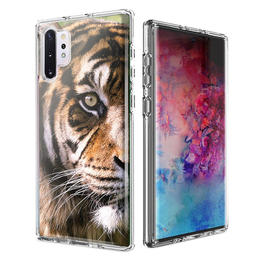 For Samsung Galaxy Note 10 Plus + Tiger Face 2 Design Double Layer Phone Case Cover