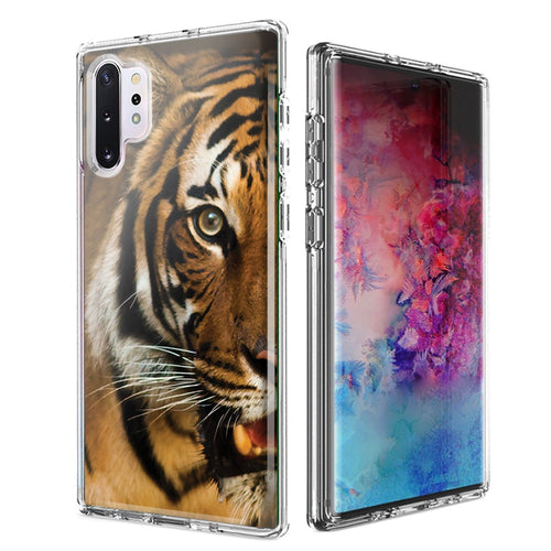 For Samsung Galaxy Note 10 Plus + Tiger Face Design Double Layer Phone Case Cover