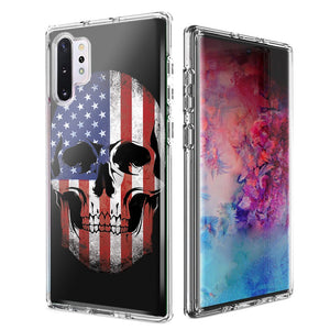 For Samsung Galaxy Note 10 Plus + US Flag Skull Double Layer Phone Case Cover
