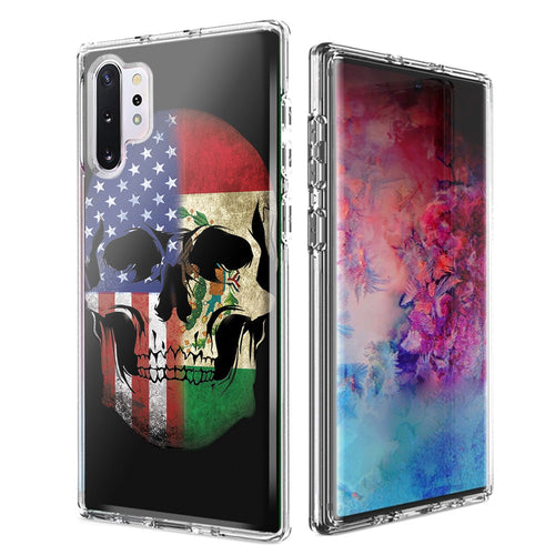 For Samsung Galaxy Note 10 Plus + US Mexico Flag Skull Double Layer Phone Case Cover