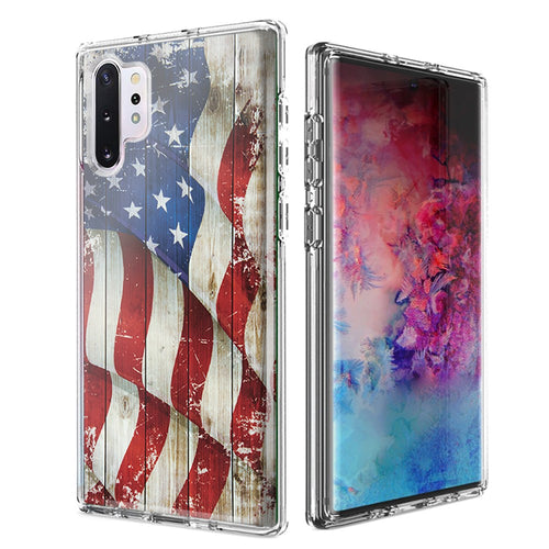 For Samsung Galaxy Note 10 Plus + Vintage American Flag Design Double Layer Phone Case Cover