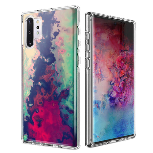 For Samsung Galaxy Note 10 Plus + Watercolor Paint Design Double Layer Phone Case Cover