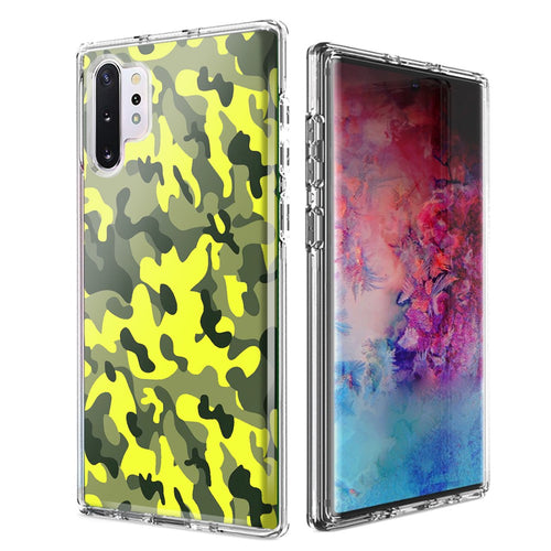 For Samsung Galaxy Note 10 Plus + Yellow Green Camo Design Double Layer Phone Case Cover