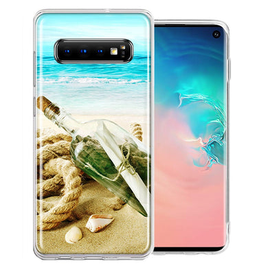 Samsung Galaxy S10 Plus Beach Message Bottle Design Double Layer Phone Case Cover