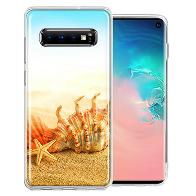 Samsung Galaxy S10 Plus Beach Shell Design Double Layer Phone Case Cover