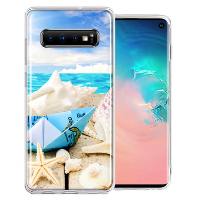 Samsung Galaxy S10 Plus Beach Paper Boat Design Double Layer Phone Case Cover
