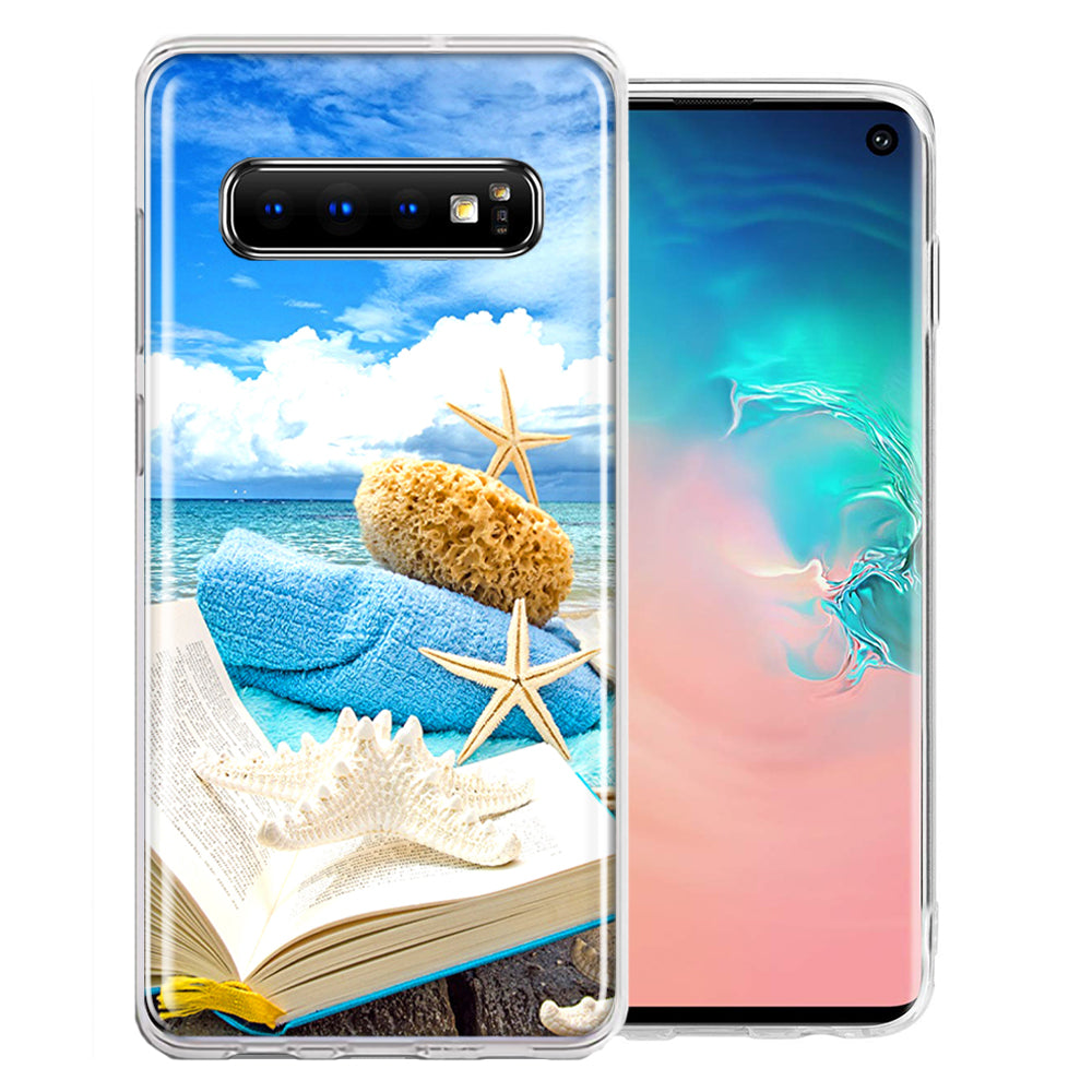 Samsung Galaxy S10 Plus Beach Reading Design Double Layer Phone Case Cover