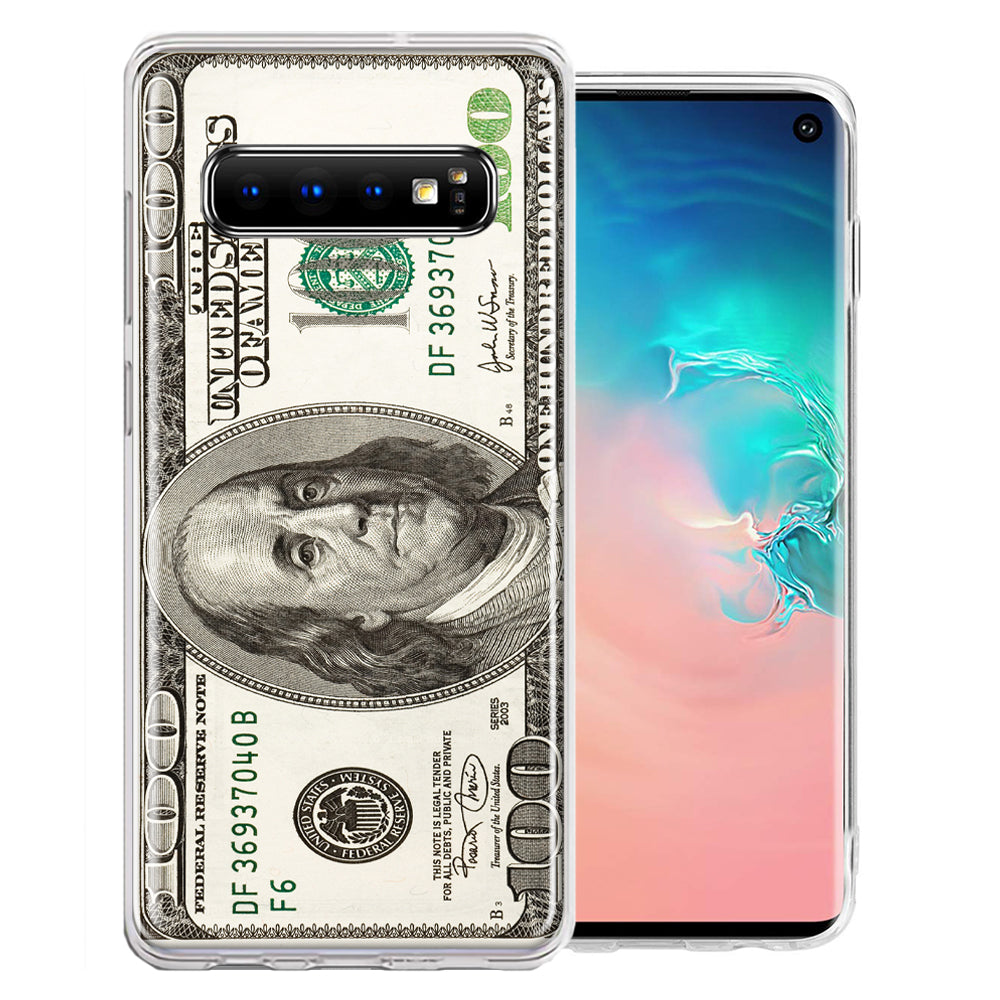 Samsung Galaxy S10 Plus Benjamin $100 Bill Design Double Layer Phone Case Cover