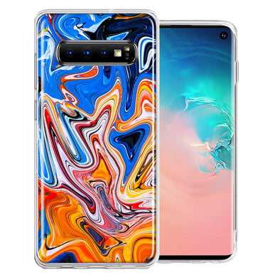 Samsung Galaxy S10 Plus Blue Orange Abstract Design Double Layer Phone Case Cover