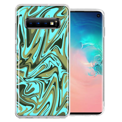 Samsung Galaxy S10 Plus Blue Green Abstract Design Double Layer Phone Case Cover