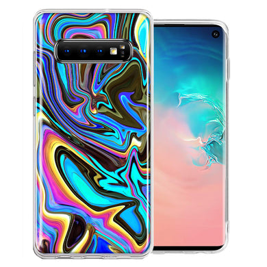 Samsung Galaxy S10 Plus Blue Paint Swirl Design Double Layer Phone Case Cover