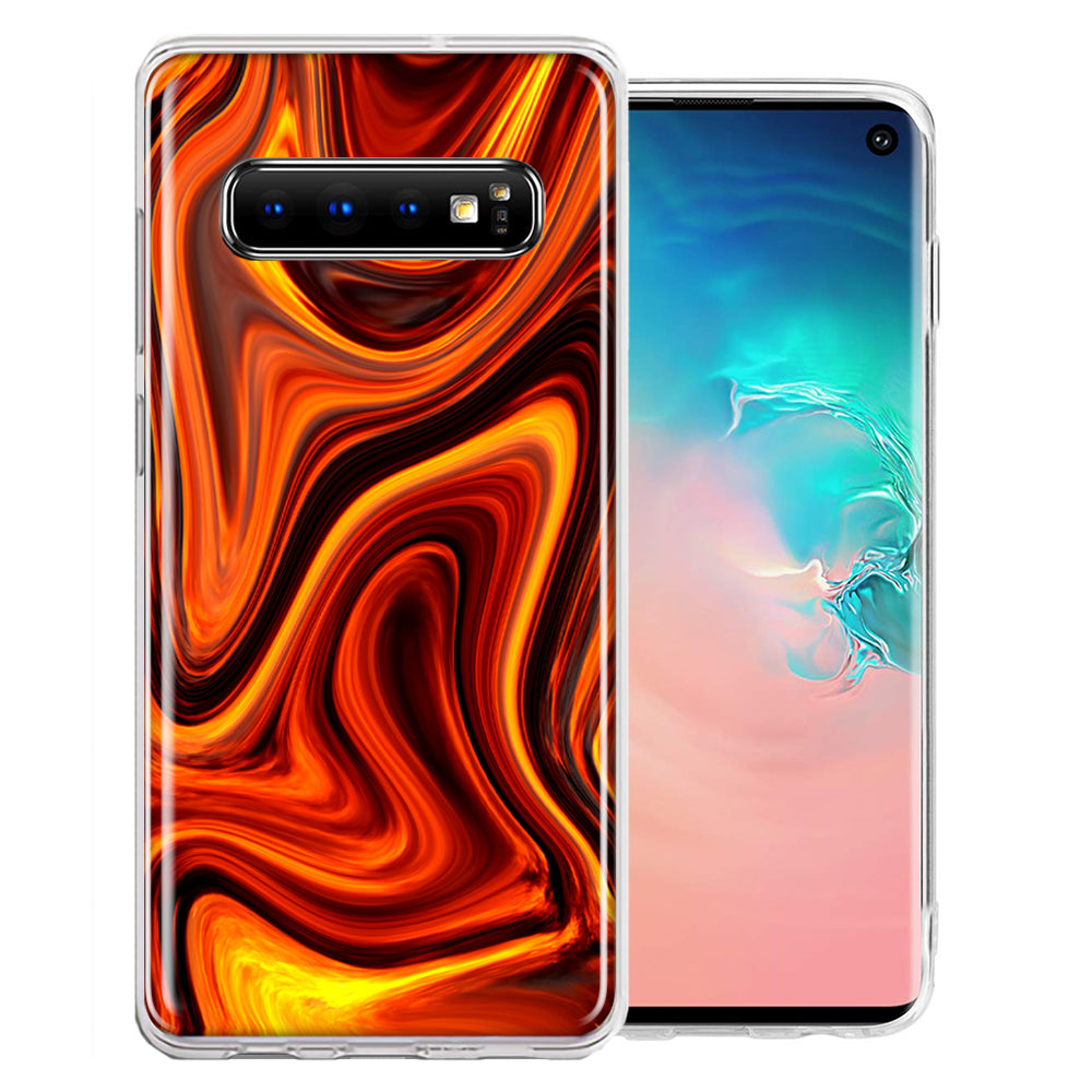 Samsung Galaxy S10 Plus Fire Abstract Design Double Layer Phone Case Cover