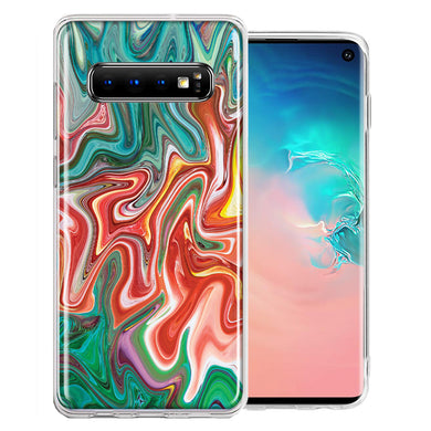 Samsung Galaxy S10 Plus Green Pink Abstract Design Double Layer Phone Case Cover