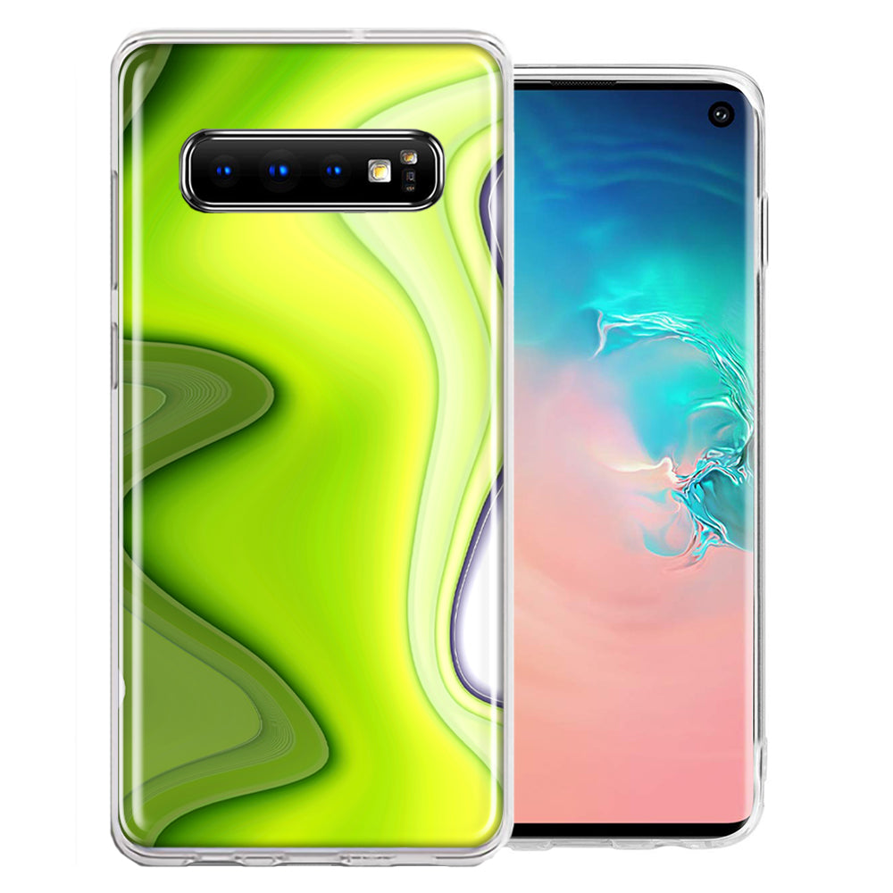 Samsung Galaxy S10 Plus Green White Abstract Design Double Layer Phone Case Cover