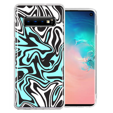 Samsung Galaxy S10 Plus Mint Black Abstract Design Double Layer Phone Case Cover