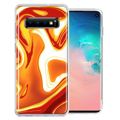 Samsung Galaxy S10 Plus Orange White Abstract Design Double Layer Phone Case Cover