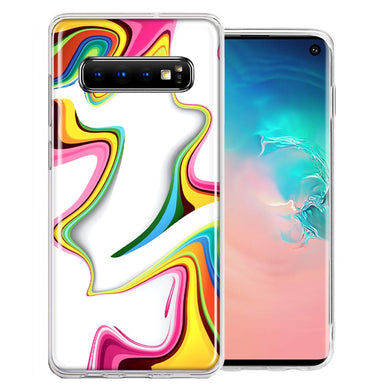 Samsung Galaxy S10 Plus Rainbow Abstract Design Double Layer Phone Case Cover