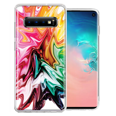 Samsung Galaxy S10 Plus Rainbow Flower Abstract Design Double Layer Phone Case Cover