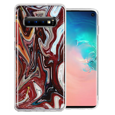 Samsung Galaxy S10 Plus Red White Abstract Design Double Layer Phone Case Cover