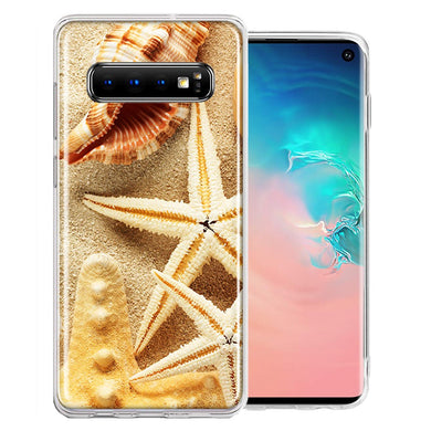 Samsung Galaxy S10 Plus Sand Shells Starfish Design Double Layer Phone Case Cover