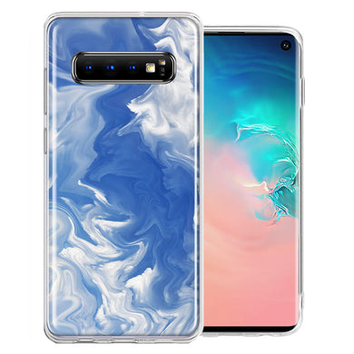 Samsung Galaxy S10 Plus Sky Blue Swirl Design Double Layer Phone Case Cover