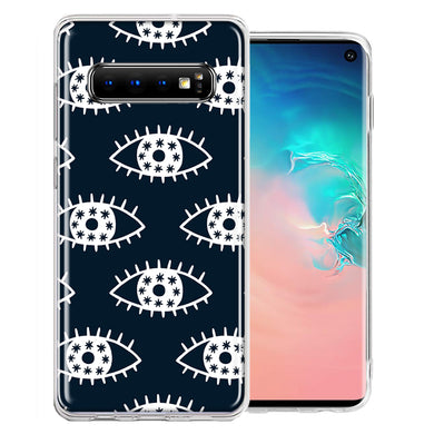 Samsung Galaxy S10 Plus Starry Evil Eyes Design Double Layer Phone Case Cover