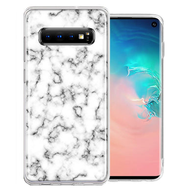 Samsung Galaxy S10 Plus White Grey Marble Design Double Layer Phone Case Cover
