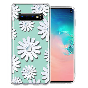 Samsung Galaxy S10 Plus White Teal Daisies Design Double Layer Phone Case Cover