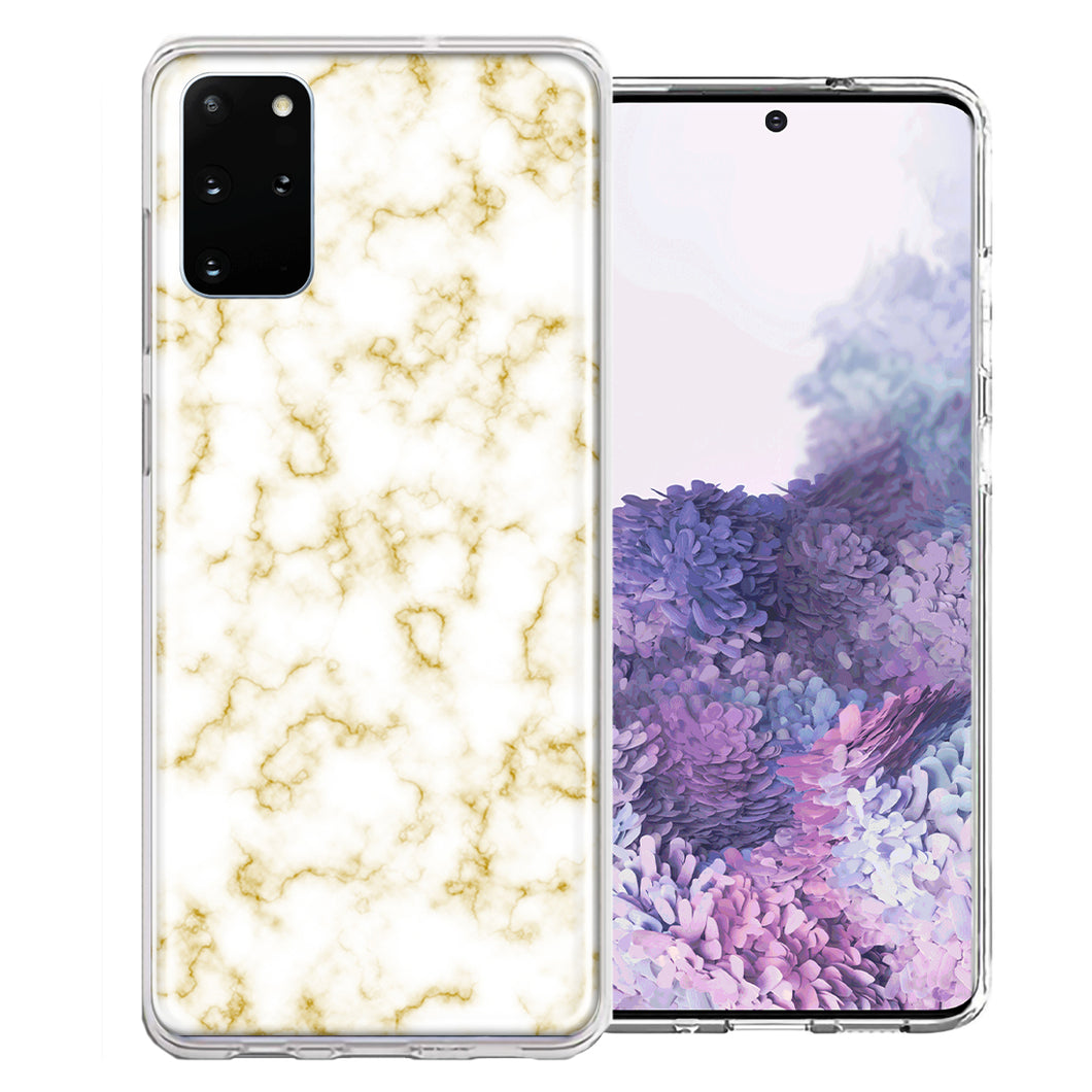 Samsung Galaxy S20 Plus Gold Marble Design Double Layer Phone Case Cover