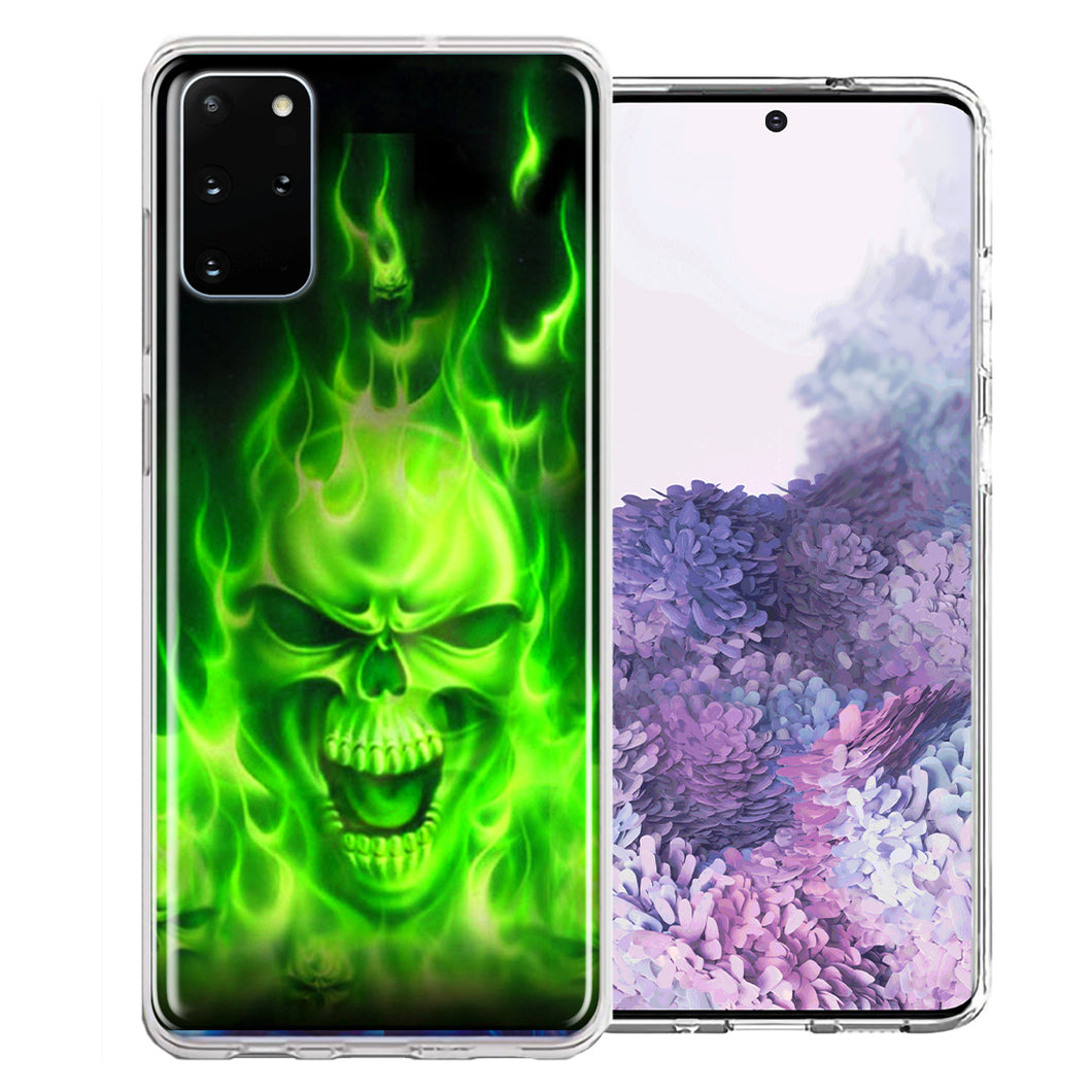 Samsung Galaxy S20 Green Flaming Skull Design Double Layer Phone Case Cover